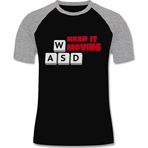 Nerds & Geeks - Tastatur WASD Keep It Moving - zweifarbiges Baseballshirt für Männer Schwarz/Grau Meliert