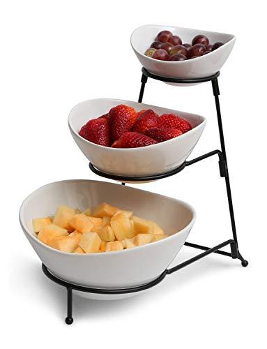 Ovale Dip-set (Pommes- und Dip-Set, 3-stöckig, oval, mit Metallregal, Dessert- und Snackheber Bowls)