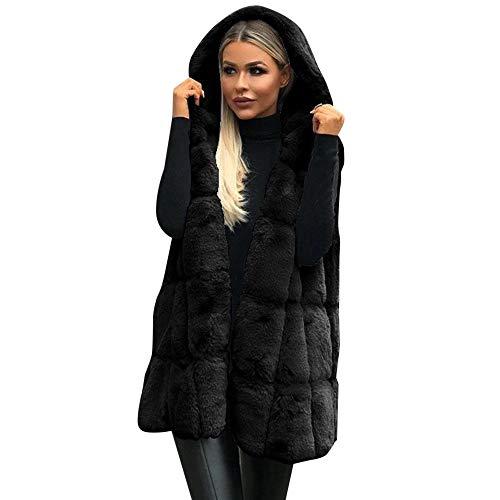 iHENGH Vorweihnachtliche Karnevalsaktion Damen Herbst Winter Bequem Mantel Lässig Mode Jacke Frauen ärmellose Kapuzenmantel Volltonfarbe Plus Größe warme Lange Wollmantel