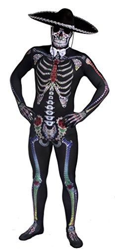DAY OF THE DEAD Sugar Skull Skelett Skin Suit Halloween Fancy Dress Kostüm für Herren mit Deluxe schwarz Filz Sombrero von Ilovefancydress® mexikanischen Spanisch hilft Dia de los Muertos (in - Skelett Skin Suit Kostüm