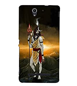 Fuson Premium Back Case Cover Lord Shiva With Brown Background Degined For Sony Xperia C3 Dual D2502::Sony Xperia C3 D2533