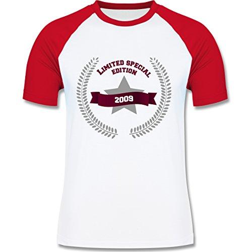 Geburtstag - 2009 Limited Special Edition - zweifarbiges Baseballshirt für Männer Weiß/Rot