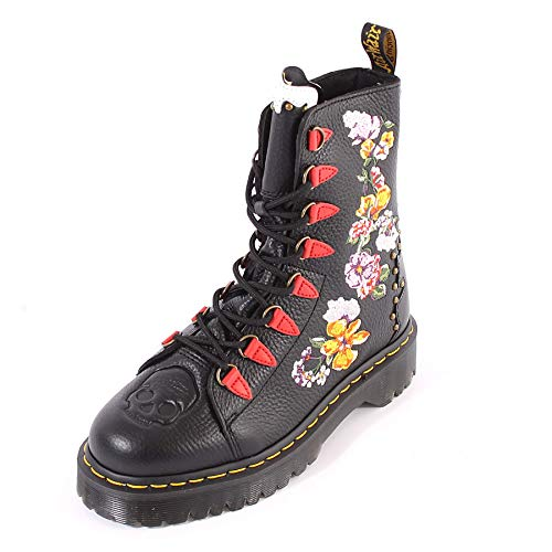 Dr Martens Women's Nyberg Embroidered Aunt Sally Leather Lace Up Boot Black-Black-5 Size 5