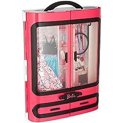 Barbie Fashionistas dressing rose à la taille de la poupée, transportable et fourni avec plus de 15 accessoires, jouet pour enfant, DMT57