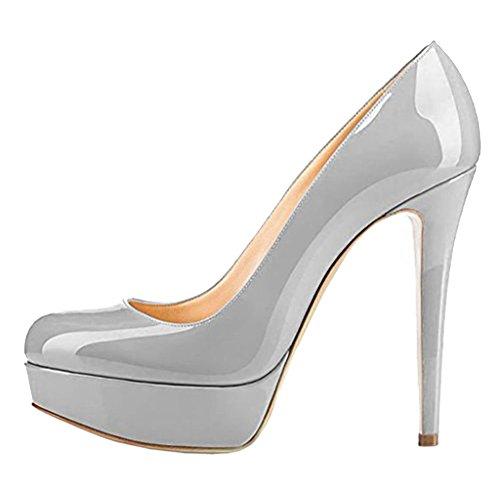 MERUMOTE - Scarpe con Plateau donna Grey-Patent