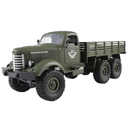 Transer JJRC Q60 RC 1:16 2.4G Radio Kontrolle,6WD Monster Verfolgt Offroad Militär LKW Auto RTR Spielzeug Für Kinder und Erwachsene (Green) (Motoren 5 1 Rc Scale)
