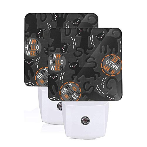 LED Night Light Black Cats Halloween Wishes Holiday Dark...