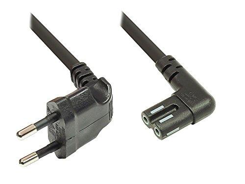 Euro-Netzkabel - 1m für SONOS Play 1 und 5 - Netzstecker (90° gewinkelt) an Euro 8 Buchse (90° gewinkelt) - für Smart TV, Spielekonsole, Radio, Rasierer, usw. - schwarz