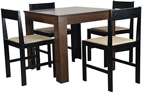 Forzza Peter Four Seater Square Dining Table Set (Wenge)