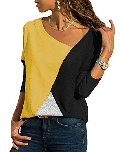 YOINS Sexy Schulterfrei Oberteil Damen Shirt Off Shoulder Top Pullover Damen Rollkragen Langarm Gestreift Pulli Lose Tshirt Hemd Gelb EU 40-42 (Herstellergröße:L)