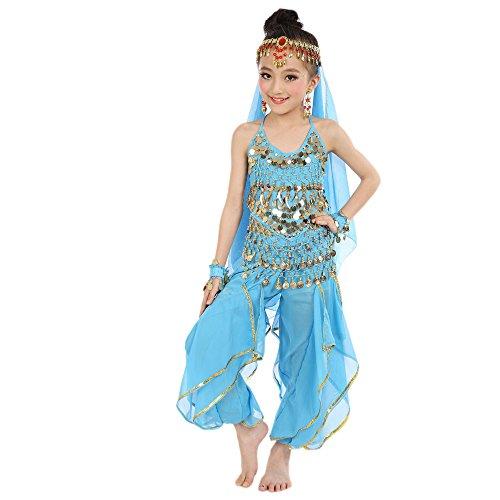 Zolimx Kinder Bauchtanz Kostüme Kinder Mädchen Bauchtanz Ägypten Tanzkleidung Kurzarm Rotierende Hosen Kostümanzug (Ausgenommen Schleier und Zubehör) (Vintage Bauchtanz Kostüm)