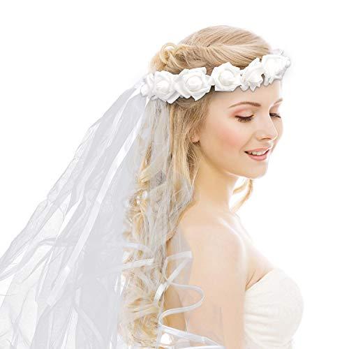 Savita Bachelorette Party Schleier Blumen Krone Brautschleier Weißer Hochzeit Schleier für Mädchen Junggesellinnenabschied Geschenk für Brautjungfer