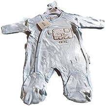 Bebé Algodón todo en uno Babygrow texto–Color Azul