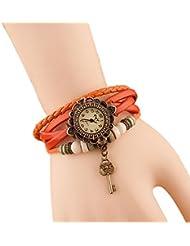 Hosaire Bracelet en Cuir Artificiel avec Pendentif Clé Retro Montre-bracelet Femme Bijoux Accessoires de mode Cadeau Anniversaire Noel Saint-Valentin Multicolore -Orange