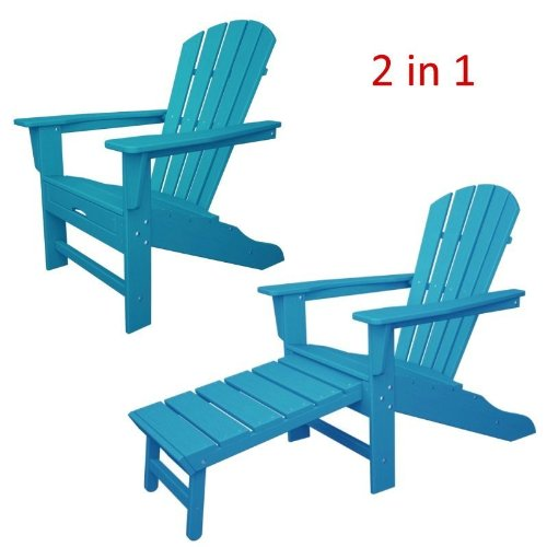 CASA BRUNO South Beach Ultimate Adirondack Chair with unique hideaway ottoman, made of recycled Polywood® HDPE plastic lumber, aruba - unconditionally weather-resistant