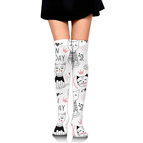 XIUZHIZH Women Lady Girl Cute Pink CAT Knee High Fashion Comfortable Boots Socks Cotton Athletic Over The Knee Tube Socks Thigh High Stockings for Great Gifts