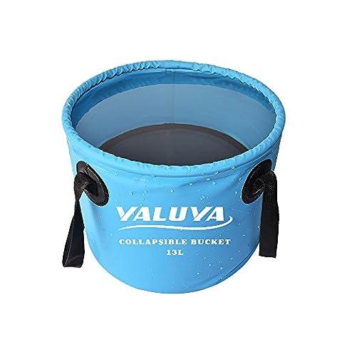 YALUYA 13L Collapsible wash basin,Lightweight Portable Outdoor Folding Wash Basin Collapsible Bucket Water Bag Wash Bucket for Camping Traveling Hiking Fishing Washing (Blue,