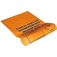 Ability Superstore-11/17 x 26 cm, 110 mm, capacità 20 l, colore arancione-Sacchi per rifiuti clinici su un rullo, confezione da 500