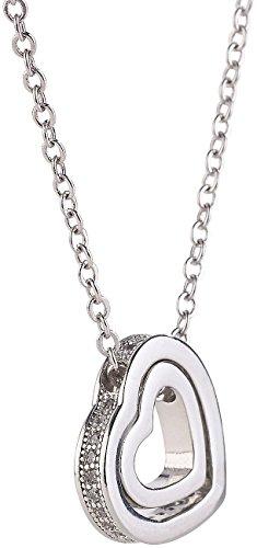 St. Leonhard Ketten: Halskette mit Herz-in-Herz-Anhänger, Schmucksteine aus Zirkonia, 45 cm (Schmuck-Ketten)