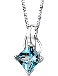 Revoni Swiss Blue Topaz Princess Cut Pendant Necklace Sterling Silver 3.00 Carats