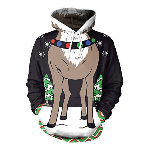 Pullover mit Kapuze Rentier Grüner Weihnachtsbaum Weiße Schneeflocke Drucken Weihnachten Festliches Kostüm Bequem Lose Paar ()