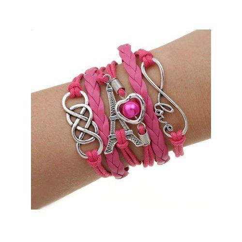 Spedito da ITALIA - Bracciale di corda regolabile TORRE EIFFEL CUORE PERLA colore rosa