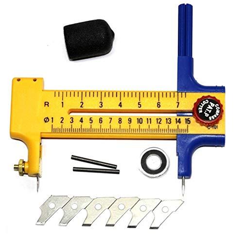 Fresa rotante (diametro regolabile) cutter cerchi cerchio 1-15cm utensile da taglio circolare, taglierina circolare a compasso rotante strumento artigianale in pelle in gomma per cartone