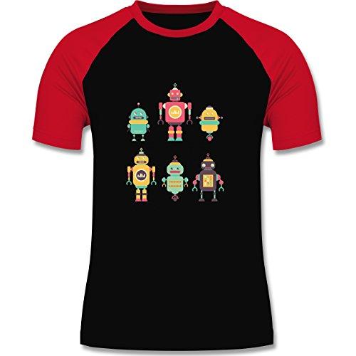 Nerds & Geeks - Bunte Roboter - zweifarbiges Baseballshirt für Männer Schwarz/Rot