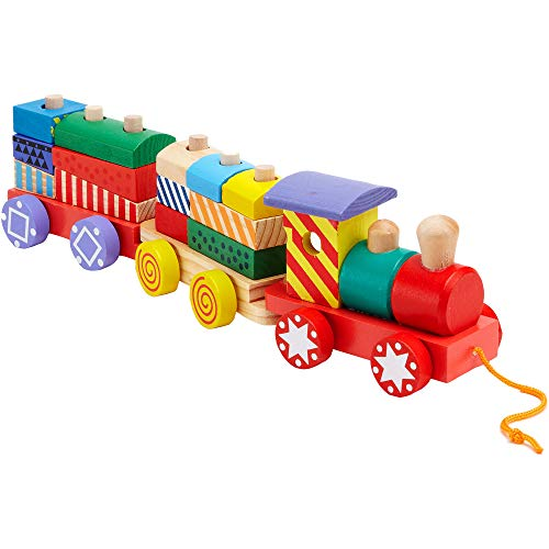 Legnoland- Trenino Trainabile, Multicolore, Globo-35693
