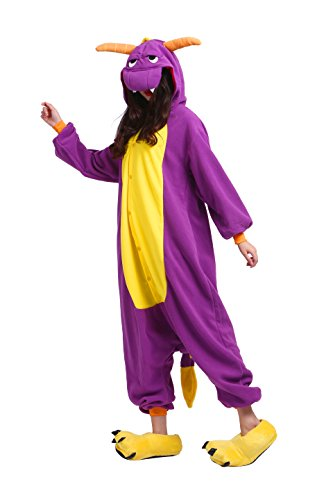 YUWELL Animal Pyjamas Onesie Kigurum Costumes Adult Cosplay Jumpsuit Sleepsuit Halloween, Lila Drache M (Height:160-170cm) (Halloween-pyjama Adult)