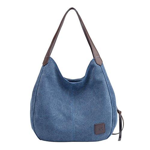 PB-SOAR Damen Mädchen Modern Canvas Shopper Schultertasche Handtasche Henkeltasche Hobo Bag Beuteltasche (Blau(Denim)) (Kunstleder Tasche)