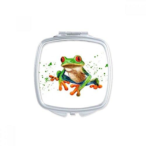 DIYthinker Polypedatid grüner Frosch-Platz Compact Make-up Spiegel Beweglicher Nette Handtaschenspiegel Geschenk -