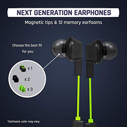 KLIM Pulse Bluetooth 4.1 In-Ear Kopfhörer 2019 Version Kabellose Kopfhörer – Geräuschreduzierung – Perfekt für Sport, Musik, Anrufe, Gaming – Magnetisch Memory Schaum Ohrstöpsel Grün - 8