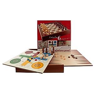 Aquamarine Games – 6 Juegos clásicos: ajedrez, Damas, Backgammon, oca, parchís, Escalera (CP030)