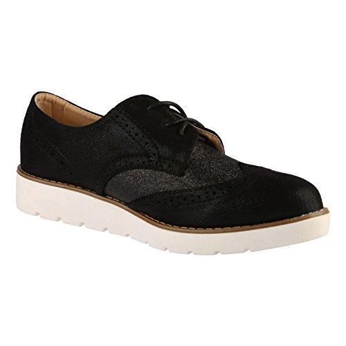 ByPublicDemand Dina Femme Talons bas Lacer Les chaussures plates Noir