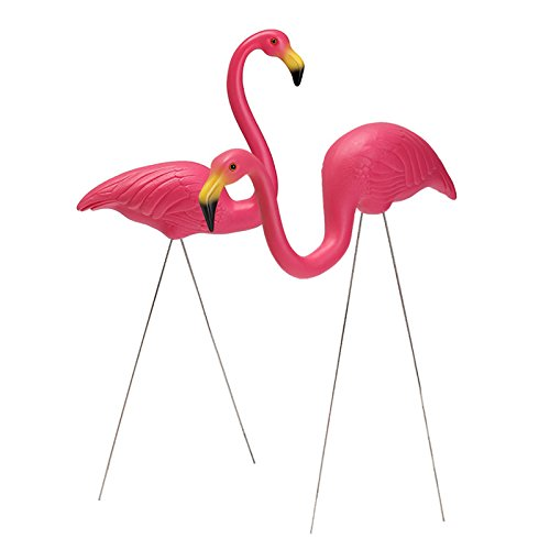LaDicha 2Pcs Pink Flamingo Plastic Yard Garden Lawn Art Ornaments Retro Toy Decor