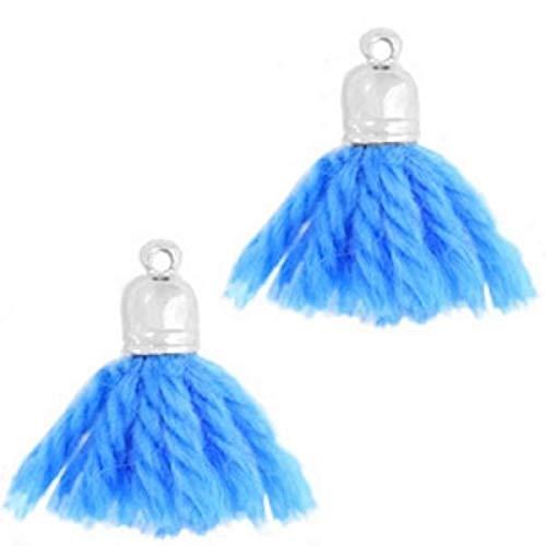 Sadingo Perlen Quasten Anhänger, Troddel, Quasten Anhänger - mit Endkappe - 3 Stück - 2 cm - Farbwahl möglich, Farbe:Blau