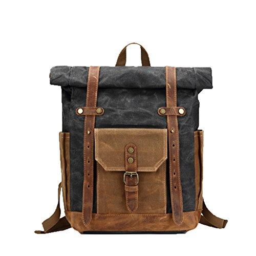 Imprägniern Sie Segeltuchspleißumhängetuch-Art Und Weise Retro Reisetasche Der Britischen Art Männer Freizeit-Computer-Rucksack-Tasche,03-M