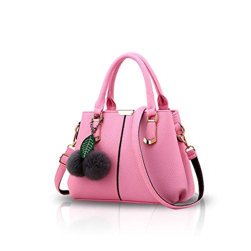 NICOLE&DORIS Le donne casuali della borsa di modo di Crossbody spalla del messaggero della borsa della cartella del Tote della Shopping Bag Con manico lungo PU Ecopelle per le signore Grigio Chiaro Rosa