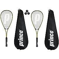 2 x Prince Power Rebel Squash Rackets + 3 Squash Balls and Covers RRP £130