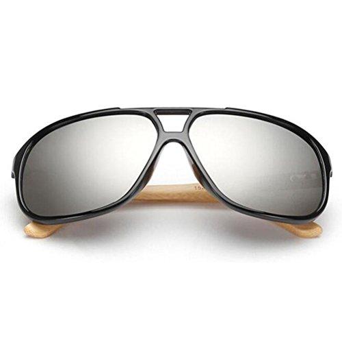 Z&YQ Sonnenbrille Bambus Holz Tempel Wayfarer Aviator Style Herren Damen UV400 Gläser , black frame white mercury