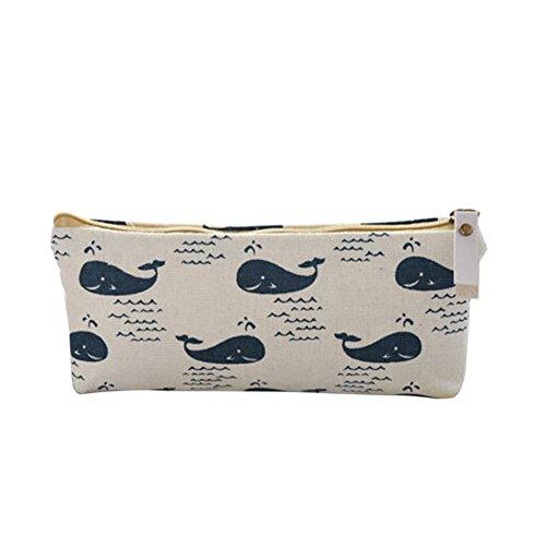 Vimbhzlvigour - Estuche para lápices de algodón con diseño de oso de ballena, estuche de almacenamiento de papelería, flores, erizos y árboles, color Whale#