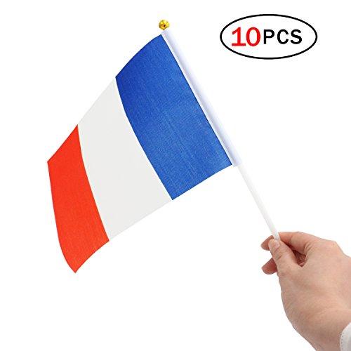 (Newin Star Flaggen Kleine Hand, Flaggen, Mini nationalen Flagge von Frankreich für Fußball Partei 14x 21cm (10Stück))