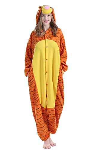 BRLMALL Unisex Adult Pajamas - Plush One Piece Cosplay Jump Tiger Animal Costume