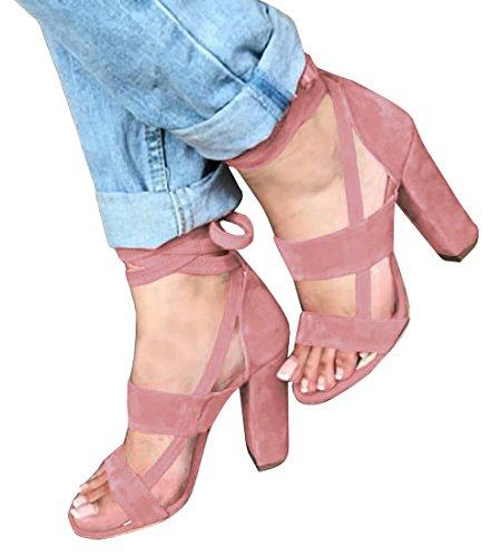 Minetom Damen Riemchensandaletten High Heels Sandaletten Stiletto Party Schuhe Glitzer Elegante Abendschuhe A Pink EU 36