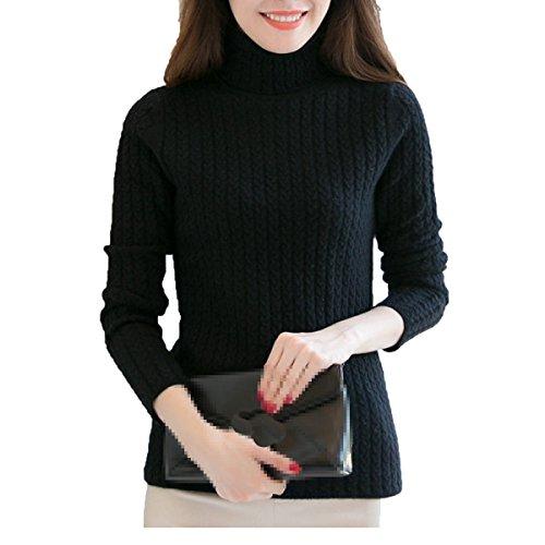 XGMSD Sottile Femminile Maglioni Autunno-inverno Che Basa Il Caldo Camicia Visone Cashmere Black
