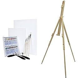 Artina Málaga - Set de 29 pzas. - Caballete de Campo portátil con Pintura al óleo, 2 lienzos, 5 Pinceles y 3 Cuchillos de Paleta