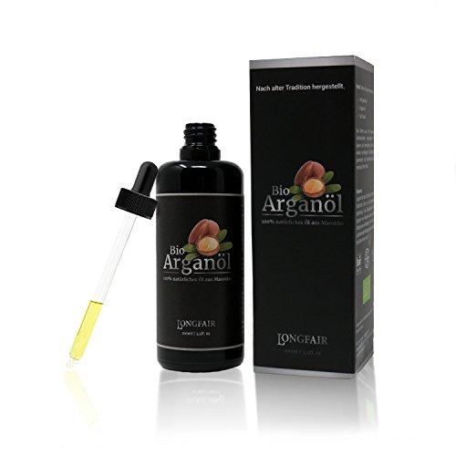 Bio Arganöl | reines & natürliches Öl aus Marokko | Kalt-gepresst in Lichtschutz Glas-Flasche mit Pipette | höchste Qualität | Anti-Aging und Anti-Falten Serum | Feuchtigkeitspflege | 100ml