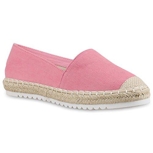 Damen Espadrilles | Bast Slipper | Glitzer Sommerschuhe | Metallic Flats Pailetten | Stoff Schuhe Plateau Pink Weiss