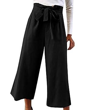 DOGZI Pantalones Mujer Arco Color sólido Pantalones recortados Suelto Lino Cintura Media Deporte Pantalones Leggings...